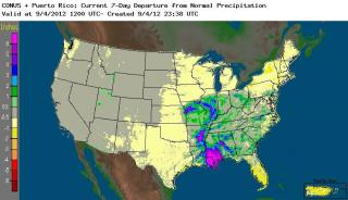 Estimated rainfall departure from normal, based on a combination of radar and gauges, for the 7 days ending at 8 AM Tuesday Sep 4, 2012.