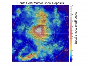 Fine grains of frozen CO2 observed falling on Mars' south pole (Credit: NASA/JPL-Caltech)