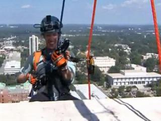 WRAL meteorologist Elizabeth Gardner goes Over the Edge for Special Olympics