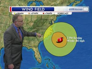 WRAL meteorologist Mike Maze shows how far west winds from Hurricane Sandy could be felt on Sunday afternoon.