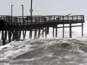 Waves churned up by Hurricane Sandy knocked out sections of the Avalon Fishing Pier in Kill Devil Hills on Oct. 29, 2012.