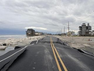 Damage to N.C. Highway 12 between Pea Island and Rodanthe, as seen on Oct. 30, 2012.