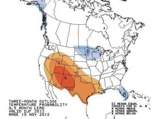 Temperature outlook from the Climate Prediction Center for the period December 2012 - February 2013.