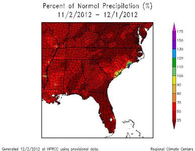 Percentage of normal precipitation across the region for November 2012, from the Southeast Regional Climate Center.