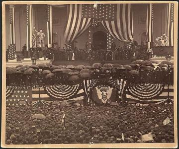 Benjamin Harrison is inaugurated in a pouring rain  on March 4, 1889 in this photo from the Library of Congress web site. According to the NWS Sterling inaugural weather history, almost 9-tenths of an inch of rain fell that day, and it was about 43 degrees at the time he was sworn in.