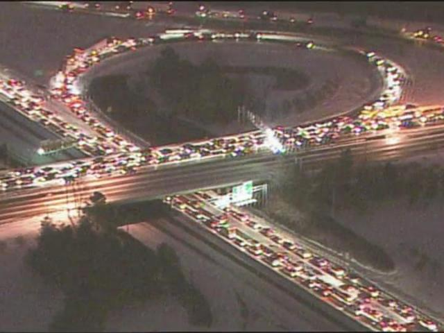 This photo from Jan. 19, 2005, shows the traffic gridlock caused by a light coatin of snow on Triangle roadways. Some 3,000 Wake county students spent the night in their schools and motorists had nightmarish commutes of up to eight hours.