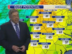 Wind gust potential for Wednesday, Jan. 30, 2013.