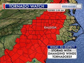 The National Weather Service has issued a tornado watch across much of central North Carolina, including Wake and Durham counties.