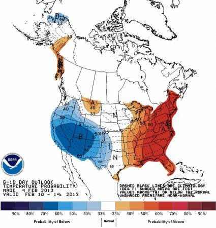 Climate Prediction Center projection of temperature probability versus normal for the 6-10 day period ending Feb 14.