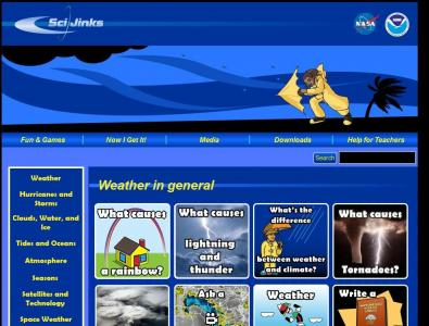 """The """"Weather"""" page of NASA's Scijinks web site."""
