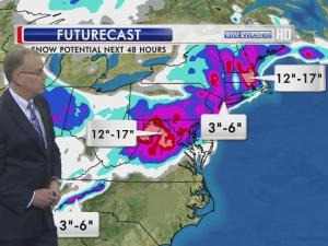 A foot or more of snow is forecast Wednesday for central Virginia.