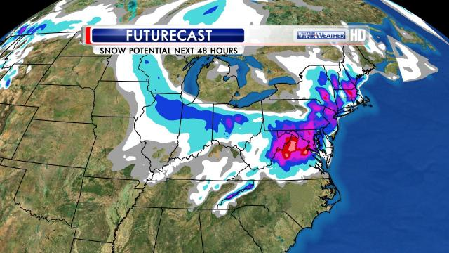 Model-estimated snow projections for the March 5-6, 2013 storm affecting the northeastern U.S.