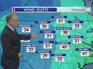 Wind gusts for March 6 at 5 p.m.