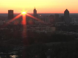 The sun rose into a cloudless sky over Raleigh Saturday morning.