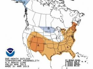 Climate Prediction Center outlook for April temperatures, showing a modest tilt of the odds toward a warmer-than-normal April for much of the southern and eastern U.S.