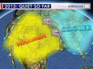 A trough along the eastern seaboard pushes rising air and the chance for severe weather offshore.