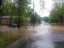 Water pooled on Drew Street in Durham Monday after hours of rain.