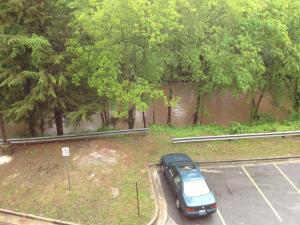 Rain swelled Crabtree Creek in Raleigh Monday.