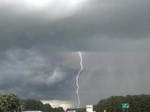 Lightning strike photo taken by Billy Huff on Interstate 40 near Gorman Street exit