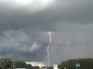 Lightning strike photo taken by Billy Huff on Interstate 40 near Gorman Street exit