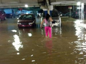 As it often does, the lower parking deck at Crabtree Valley Mall flooded Sunday evening.
