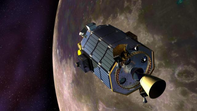 LADEE readies for an orbital maneuvering thruster burn (NASA Ames / Dana Berry)