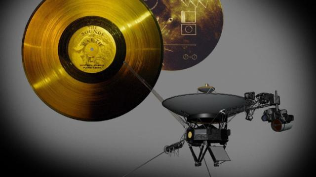 A golden record containing images, music and greetings from Earth was included on the Voyager 1 and 2 spacecraft (Credit: NASA/JPL-Caltech)