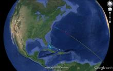 Antares flight path takes it south east over Bermuda (Orbital Sciences)