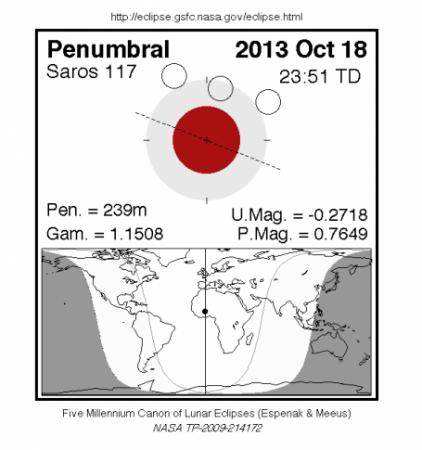 The last partial lunar eclipse of 2013 will be visible  from much of the world (NASA GSFC)