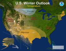 Temperature outlook for the 2013-14 winter, according to NOAA's annual winter weather outlook.