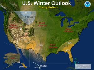 Precipitation outlook for the 2013-14 winter, according to NOAA's annual winter weather outlook.