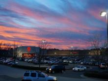 Pink skies signal warming weather at the Target in Cary Crossroads. (Keith Baker / WRAL)