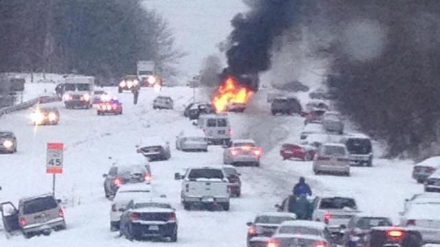 Lindsay Webb of Raleigh shot this picture of the chaos on Glenwood Avenue in Raleigh on Feb. 13, 2014. (Photo courtesy of Lindsay Webb)
