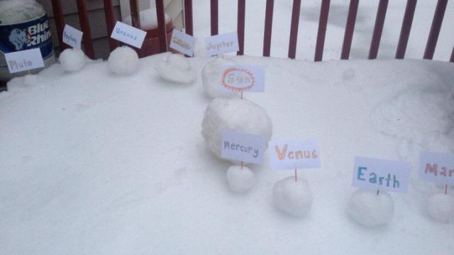 Shafwat Islam of Leesville Road High created a snowy model solar system.