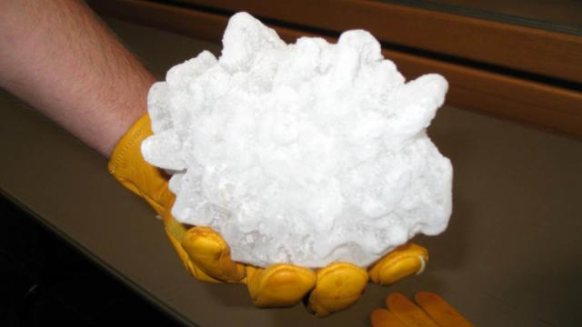 A 2-pound hailstone fell in South Dakota during a July 2010 storm.
