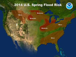 National Weather Service hydrologists predict moderate flooding in parts of southern Wisconsin, southern Michigan and portions of Illinois, Indiana, and Iowa as a result of the current snowpack and the deep layer of frozen ground coupled with expected seasonal temperatures and rainfall. At risk are the Mississippi River and the Illinois River as well as many smaller rivers in these regions. Small streams and rivers in the lower Missouri basin in Missouri and eastern Kansas have already experienced minor flooding this year and the threat of moderate flooding will persist through the spring.