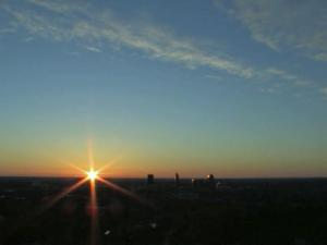The WRAL tower camera captures the sun rising over the Raleigh on Monday morning.