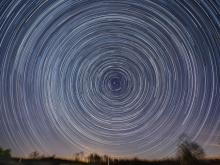 The varied colors and brightness of stars are evident in this northern facing star trail (Credit: Ken Christison).