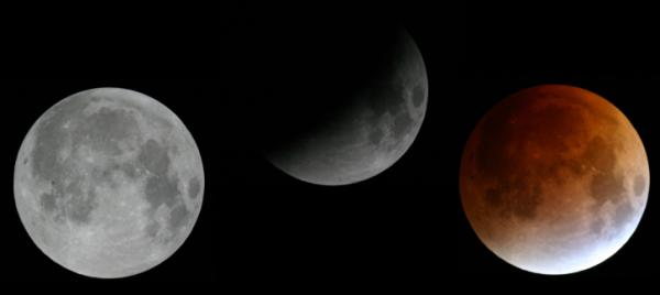 A sequence of the full moon as it enters Earth's shadow from August 2007. Tuesday's eclipse will pass through a similar part of the shadow but may have different coloring. (Credit: Stephen Edberg/NASA)