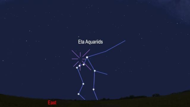 Look to the above the horizon before sunrise Tuesday morning for the Eta Aquariids meteors. (Stellarium, Rice)