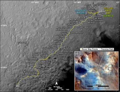 Curiosity has traveled nearly 5 miles since landing and continues to drive toward the base of Mount Sharp. (Credit: NASA/JPL-Caltech/University of Arizona)