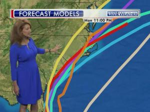 Forecast models show the possible tracks for a system that could intensify into a tropical storm in the next few days.