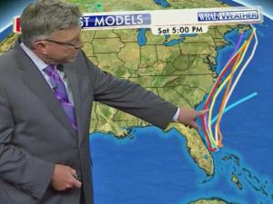 WRAL Chief Meteorologist Greg Fishel points out the various models for the path of a possible tropical system over the Fourth of July weekend.