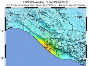 A USGS map showing estimated shaking intensity from the very strong earthquake in southern Mexico on the morning of July 7, 2014.