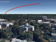 Simulated view of the rocket's path as seen from Raleigh.