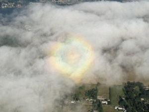 "Glory seen in a photo from an aircraft over Oregon. Variations in cloud location and thickness give the illusion of a ""heart"" shape to this one. (Photo by Tony Defreece)"