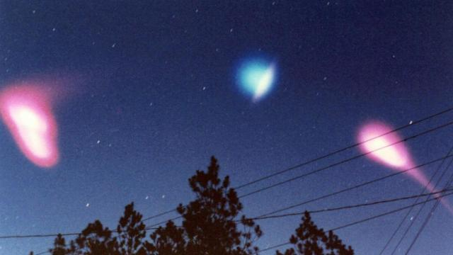 Photo taken from Rocky Mount in the early 1980s showing an early morning release of ionospheric tracer materials from a sounding rocket.