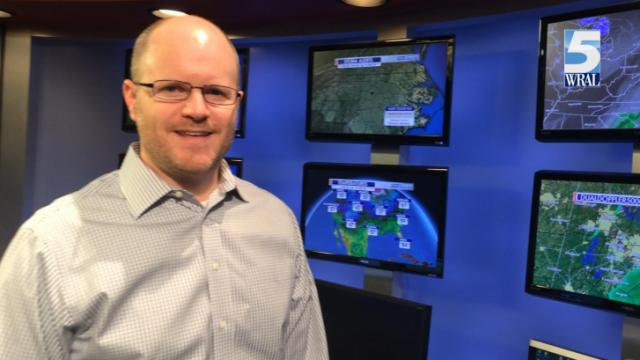 WRAL meteorologist Nate Johnson in the Weather Center