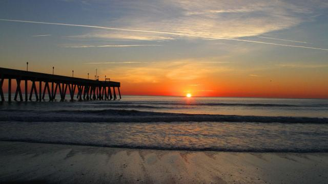 First sunrise in 2015.  Picture taken at Wrightsville Beach. (Photo by Tommy Barham)
