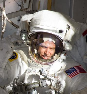 NASA astronaut Andrew Feustel pictured during a 2011 spacewalk from the Internationals Space Station, will share his experiences during 2 space shuttle missions and over 40 hours outside the shuttle and ISS.